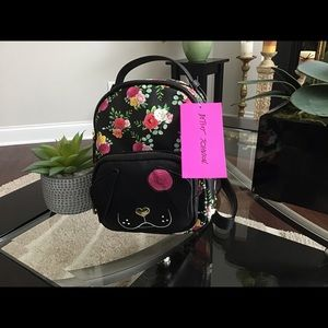 Betsey Johnson Floral Pup Mini Backpack
